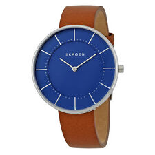 Skagen Gitte Blue Dial Ladies Leather Watch SKW2612
