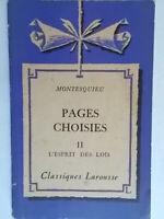 Pages choisies II L'esprit des loisMontesquieuLarousse1954 filosofia francia