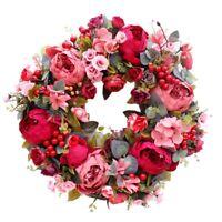 Dekorativer TüR Kranz,Seidenblume Pfingstrose Kopf Blumen Kranz 40Cm Handge O8R3