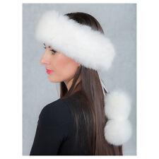 Ladies Fur Headband Natural Ranch raised White Fox Fur Mink Fox Genuine Fur