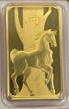 2014 Pamp 1 oz Gold Bar Year Of The Horse - Suisse Gold Bar In Assay #2556