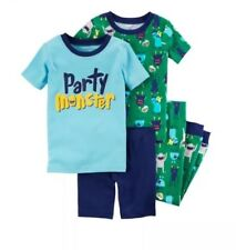 Carters Boys Size 8 4 Piece Party Monster Pajama Short Sleeved Set Retail $42