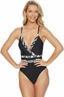Athena Women 10 Black White Mystique Surplice Maillot V-Neck One-Piece Swimsuit
