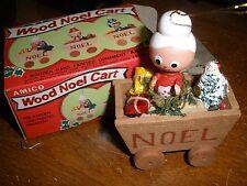 Santa Christmas Tree Wood Ornament Wood Santa in Wood Noel Cart by AMICO