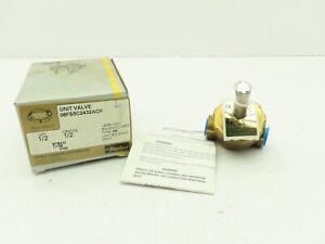 """Parker 08FS5C2432ACH Gold Ring Brass 2-Way NC Solenoid Steam Valve 1/2"""" NPT"""