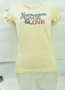 MLB New York Yankees Red Jacket Small Women Cream Tshirt Short Sleeve Crew Neck