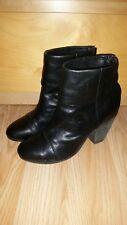 Genuine Rag & Bone Newbury Black 100% Leather Mid Heel Ankle Boots, Size 39.5