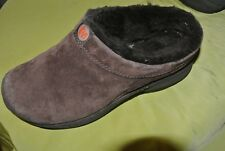 MERRELL Women's shoes Primo  Brown mules  Suede Faux Fur size 8 great