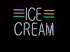 "Ice Cream Open Neon Lamp Sign 17""x14"" Bar Light Glass Artwork Display Man Cave"
