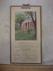 ANTIQUE 1918 R L CHARLES HOTEL WILHARD SEATTLE WA CALENDAR HOME OF JAMES MADISON
