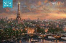 "Paris, City of Love - Eiffel Tower - 8 1/2"" x 5 1/2"", T. Kinkade Dealer Postcard"