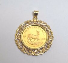1980 South African Krugerrand Coin 1/2 oz Fine Gold in 14k Yellow Gold Pendant