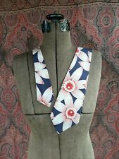 "New listing Vintage 1940s necktie tie cravat Hawaiian red flowers blue synthetic 47 1/2"""