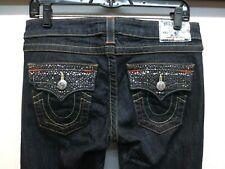 EUC True Religion Dark Wash Joey Flare Rhinestone Embellished Jeans Size 28 X 35