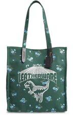 ❤️ Coach Rexy And Carriage Logo Canvas Green/Silver Dinosaur Tote
