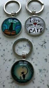 Handmade glass cat, love cats kitty key ring key chain keyring fob bag charm