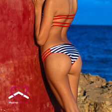 New Reversible Bikini Bandeau Style 4 in 1 Red and White&Blue Stripes Size L