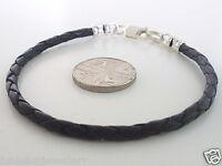 Boys 3mm Leather Braid & Bonded 925 Sterling Silver Bracelet choose col / size