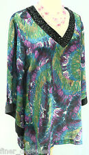 Dana Buchman VTG tunic Blouse Shirt Top SPARKLE GEO V Neck light Fly Away L/S M