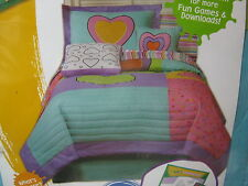 New 2 pcs Crayola Hearts Twin Quit and Standard Pillow Sham Set - Nip