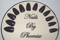 hand painted full cover black/pink glitter stiletto false nails,choice of sizes