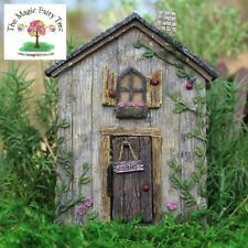 Wood effect miniature ladybug fairy door with window and hinged opening door