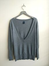 Gap cotton cashmere gray sweater deep v neck long sleeve size Womens size M