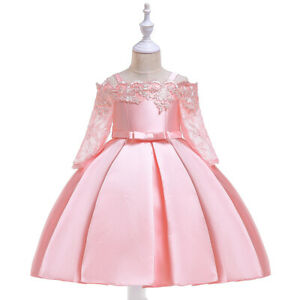 Kids Girls Floral Lace Dress Clothes Birthday Formal Princess Dresses Ball Gowns