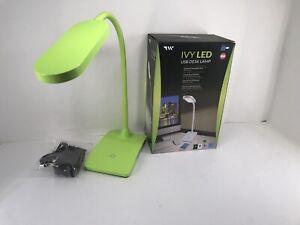 Green LED Desk Lamp 3 Level Touch Dimmer, Built-in USB Port, Charging Adjustable