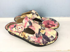 Alegria 37 US 6.5 7 Pink Purple Ivory Patent Leather Mules Clogs Professional