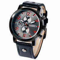 CURREN Analog Deco Small Dial Military Leather Band Strap Sport Men Wrist Watch