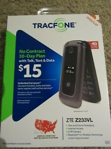 USED TRACFONE MOBILE PHONE W/ORIGINAL BOX ZTE Z233VL 4G LTE