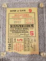 N.Y. Yankee's 1936 World Series Ticket, Lou Gehrig, Dimaggio, Game 5, Baseball
