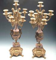 Italian Vintage Brevettato Brass/Bronze Marble Cherub Candelabra/Candlesticks