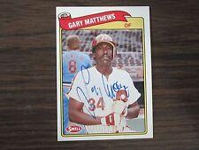 1989 Swell #118 Gary Matthews Autographed / Signed Card C) Philadelphia Phillies