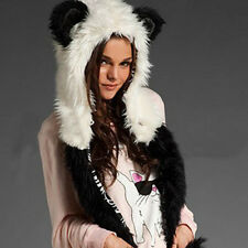 Winter Plush Animal Hat Cap fox Paw Mitten Earmuff Soft Warm Scarf And Gloves