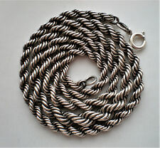 Russian Russia Soviet Sterling Silver 916 Graduated Rope Necklace Chain 33.6 g.