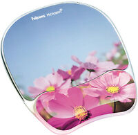 Fellowes Photo Gel Mouse Pad And Wrist Rest With Microban Protection, Pink Flowe