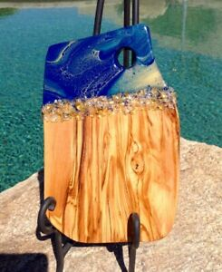 Olive Wood Sage Navy Gold w/beads Charcuterie Decorated Serving Board New
