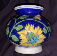 Colorful Blue Ceramic Pot Made In India 4 1/2 Inches Height