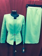 TALLY TAYLOR SUIT/LINED/SIZE 22W/ MINT GREEN/SKIRT LENGTH 32'/NEW WITH TAG/