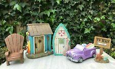 Miniature Dollhouse FAIRY GARDEN ~ BEACH Kit Set of 5 House Door Car Chair Sign