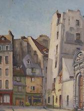 Paris Rue St Julien-le-Pauvre Huile sur panneau signée en datée Sorbonne France