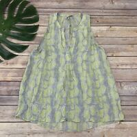 Joie Snakeskin Print Silk Top Size M Yellow Gray Sleeveless Blouse Popover