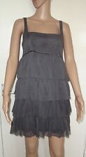 PRIMARK, SIZE 10, GREY LAYERED CHIFFON STYLE SHORT/MINI SLEEVELESS DRESS, BNWT