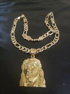 "Mens 18k Gold Plated  Big Jesus face Brass  Pendant 6mm 24"" Cuban  Chain"
