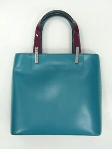 Lamarthe Paris Teal Leather Tote with Purple/Teal Acrylic Handles