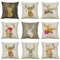 "Pillow 18"" Decor Cover Deer Colorful Linen Throw Home Case Cotton Cushion Sofa"