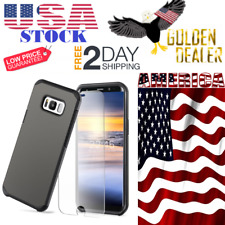 Samsung Galaxy S8 Plus CASE Black Dual Layer Shockproof Plus 9H Screen Protector