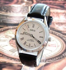 Vintage FHF ST 96 Swiss Mov Hand Winding White Dial Mens Watch Mint Condition